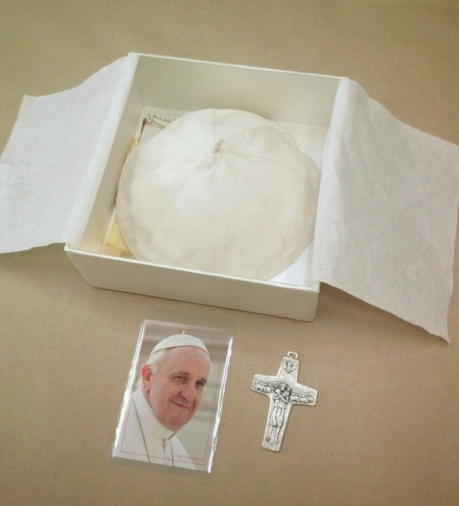 Photo of The Pope, papal beanie, and a crucifix were elements that needed to be included in the shadowbox.