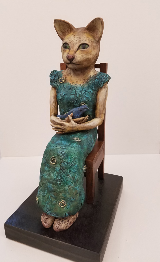 """Annabelle"", Hand-painted Ceramic and Wood by Sandi Bransford"