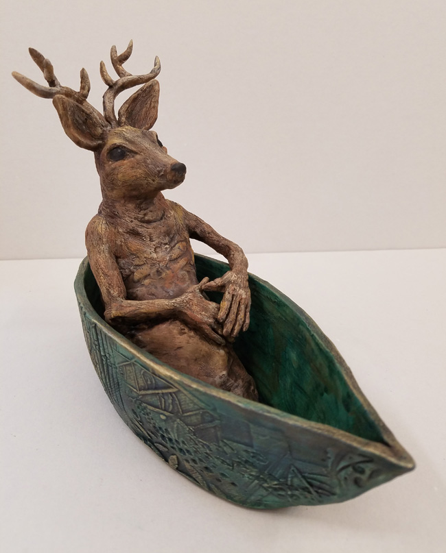 """Small Journeys / Deer"", Hand-painted Ceramic Sculpture by Sandi Bransford"