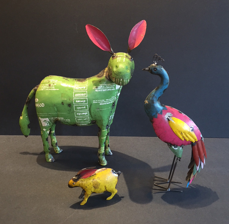 Fair Trade  tin animals made in India.