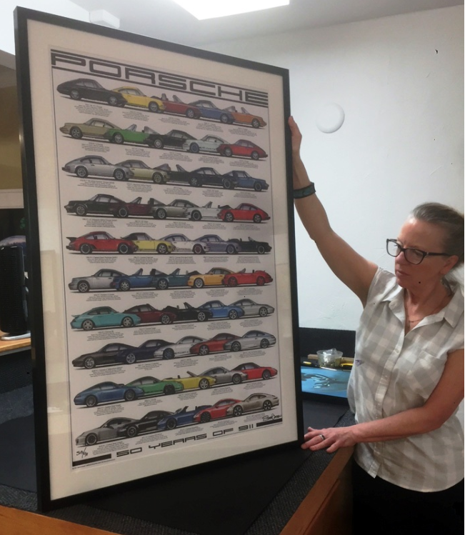 Classic Car Poster in Brushed Metal Frame - Posters benefit from mounting when possible so they can be displayed with a consistent, flat look. After mounting this poster, we added a white mat and high-quality Conservation Clear Glass to the brushed metal frame for a classic sporty design.
