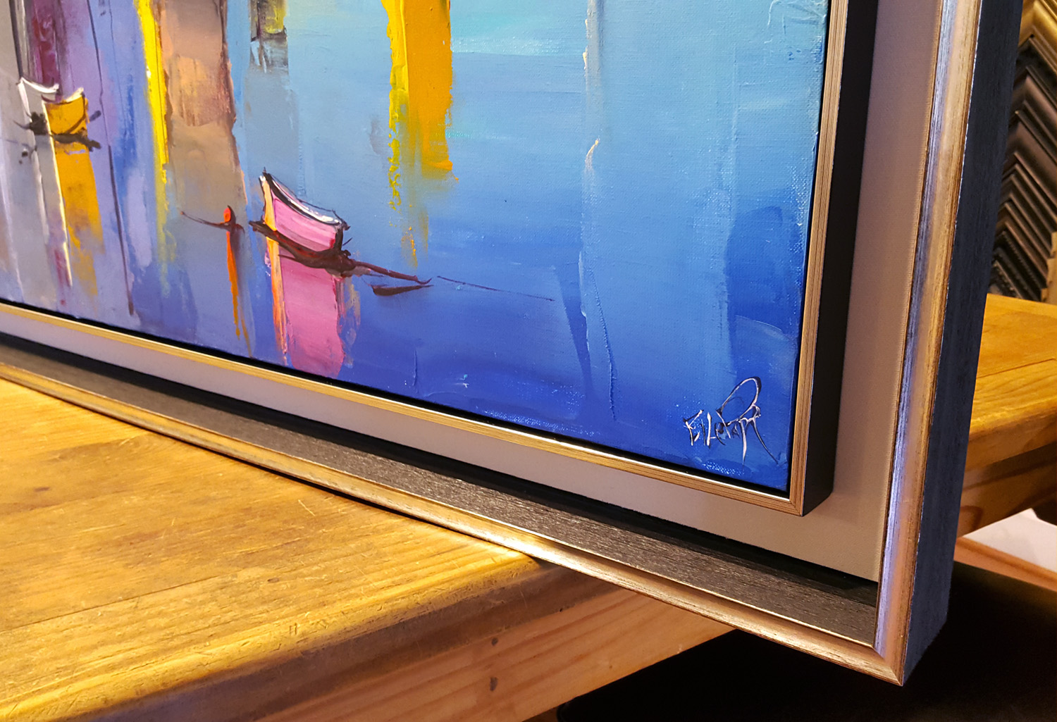 Double Gilded Float Frame on Modern Seascape Canvas - After stretching this colorful canvas, we added a thin gold