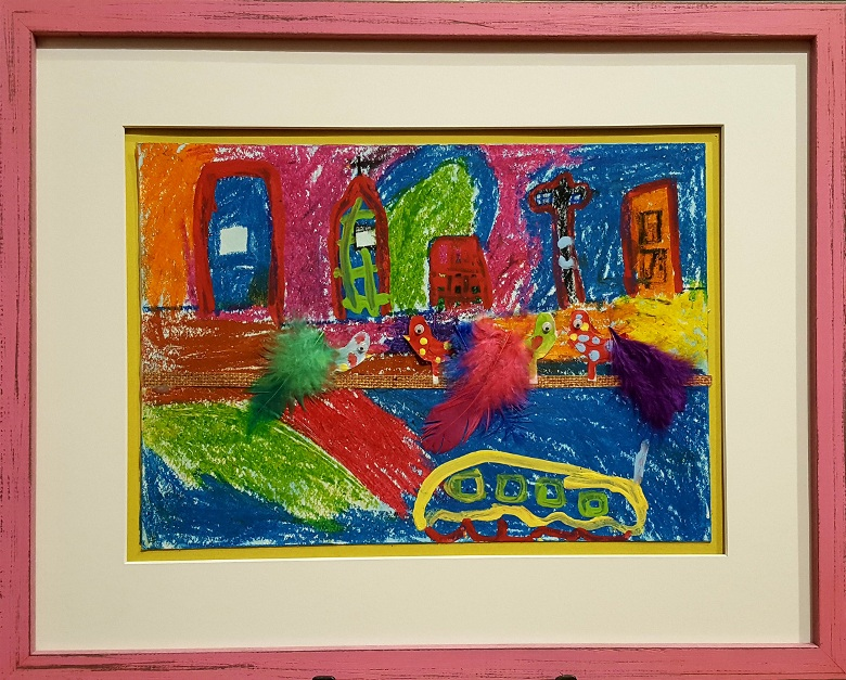 Kid's Art with Feathers and Paint and Crayon - We chose a rustic pink frame and cream mat with yellow accents for this fun and colorful collage piece by a young artist. Raising the mat leaves extra space for the feathers, and adds visual dimension!