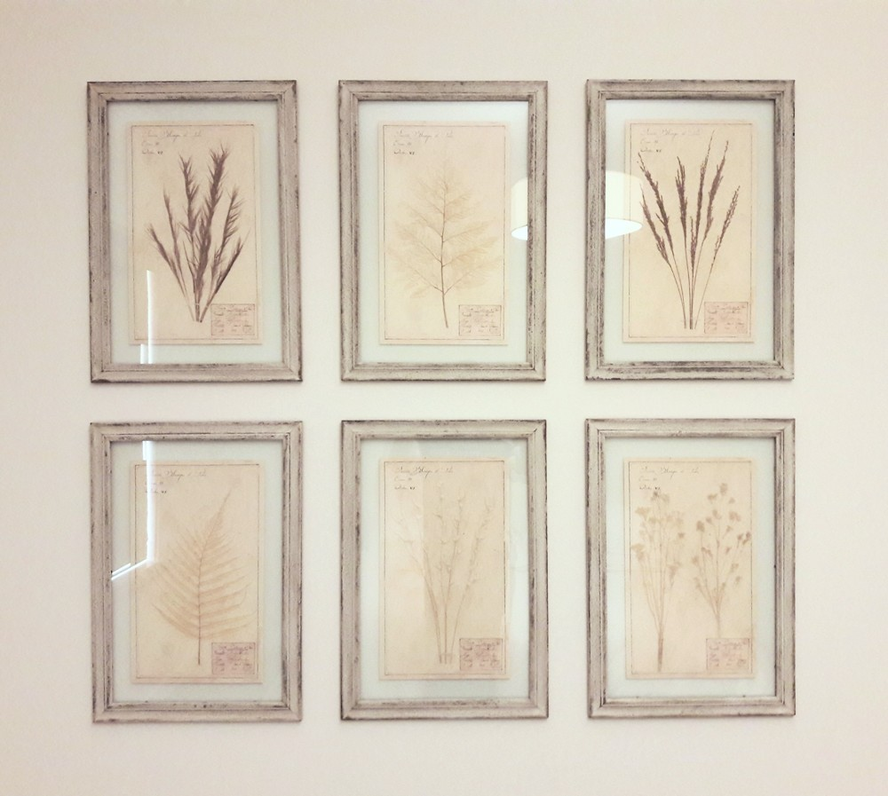 Minimal Framing Complements Modern Interiors - A simple rustic frame offsets these textured collages of wild plants and flowers. Double glass lets the image float inside a the frame for a minimal look. Tip: You will see your wall color through the glass border!