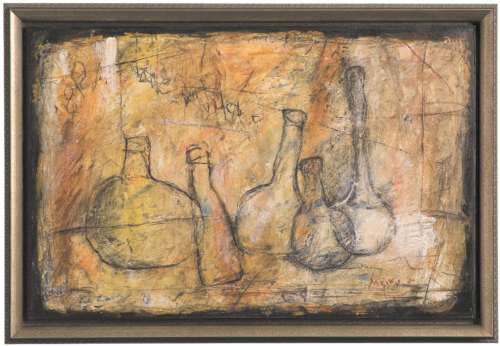 Modern Still Life Painting in Antique Silver Frame - This 20th century oil painting gets a beautiful setting in a soft, antiqued silver frame with delicate design. The tones of silver are harmonious against the neutral colors of the painting.