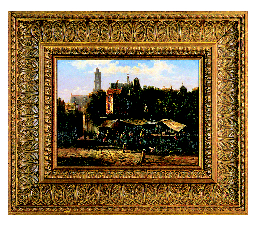 European Oil Painting in Wide Carved and Gilded Frame - A historical landscape painting gets a traditional treatment in this wide burnished gold frame with carved leaf pattern. The warm tones and detailed carving draw you towards the painting for a closer look.