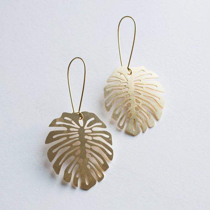 Palm Leaf Cut Brass Earrings