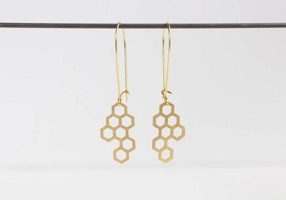 """Cut Brass """"Honeycomb"""" Earrings"""