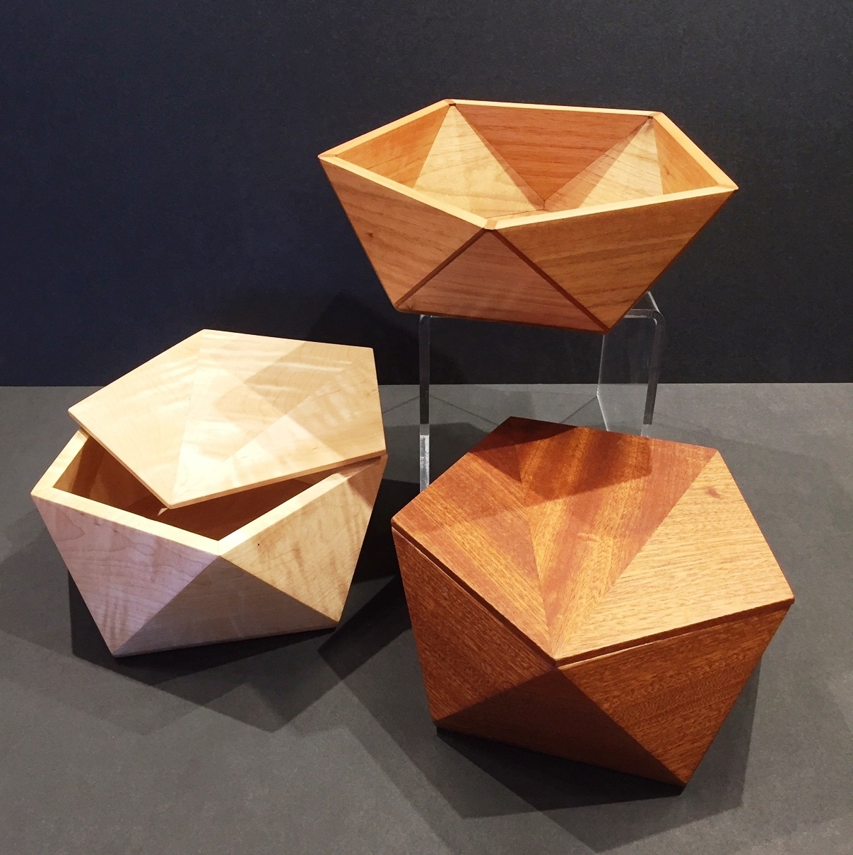 Pentagonal Lidded Boxes and Bowl