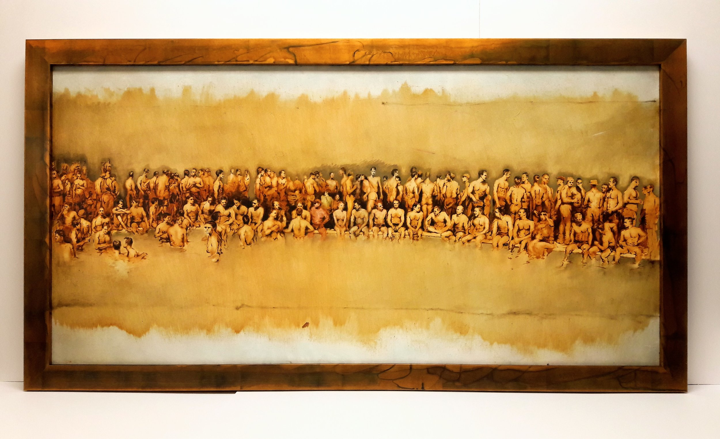 """Raku"" acid-etched frame on sepia-toned contemporary painting of bathers — an incredible match!"