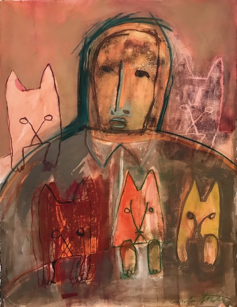 """Cat Man"" by Carla Dimitriou, Mixed Media 22 x 30"""