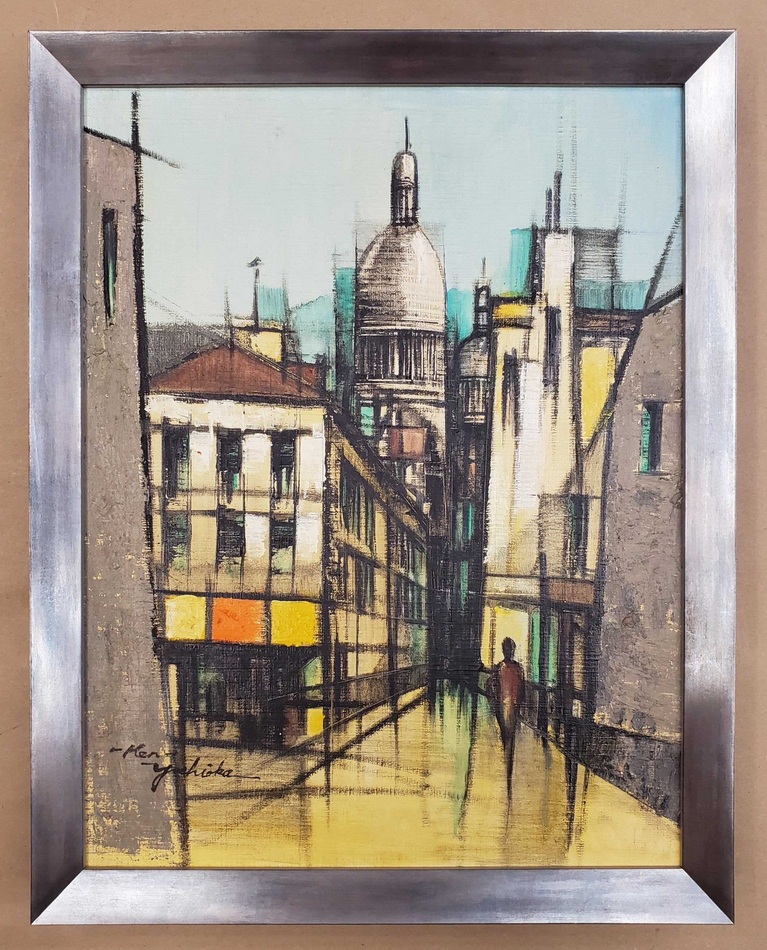 Vintage Parisian Landscape Painting in Mid-Century Modern Silver Frame - Check out how the beveled frame draws your eye into the perspective of this cityscape. The frame has a blonde wood side for added vintage detail.