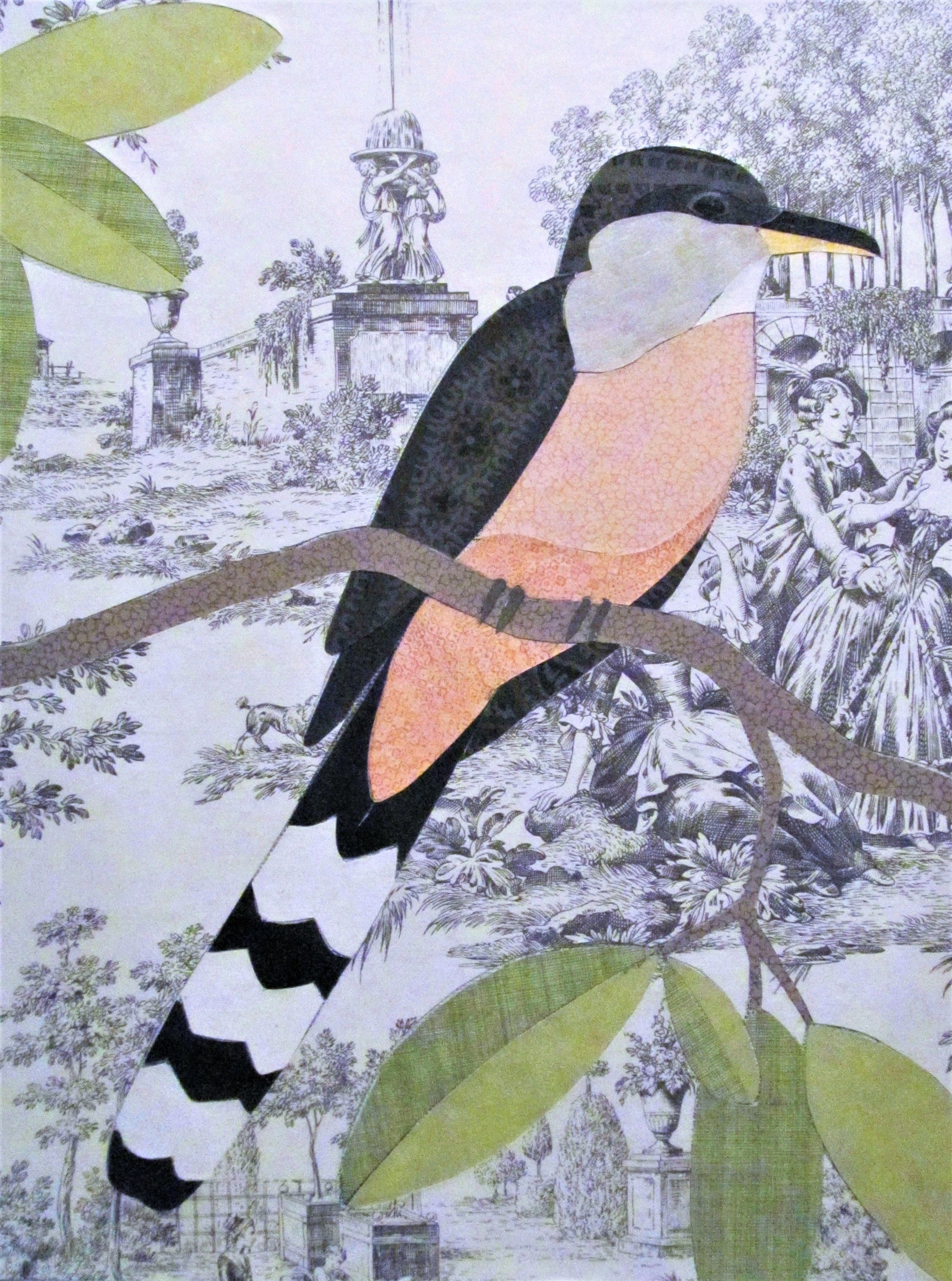 Heidi Randall - Seattle artist Heidi Randall created intricate collages using vintage wallpapers. Her interest in combining patterns finds home on images of birds of all species. These delicate works delight the eye and reward close examination.