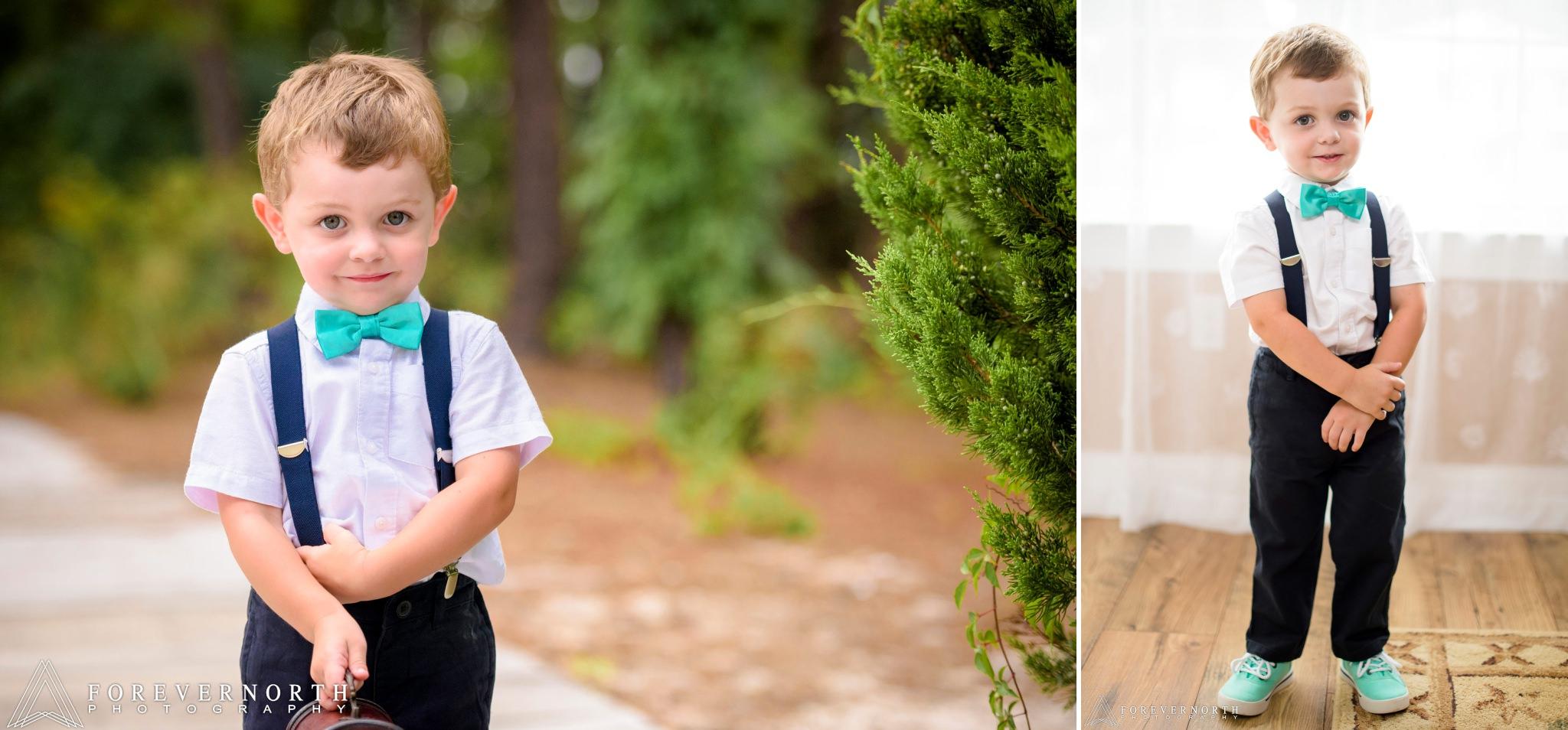 Little kid holding basket before wedding