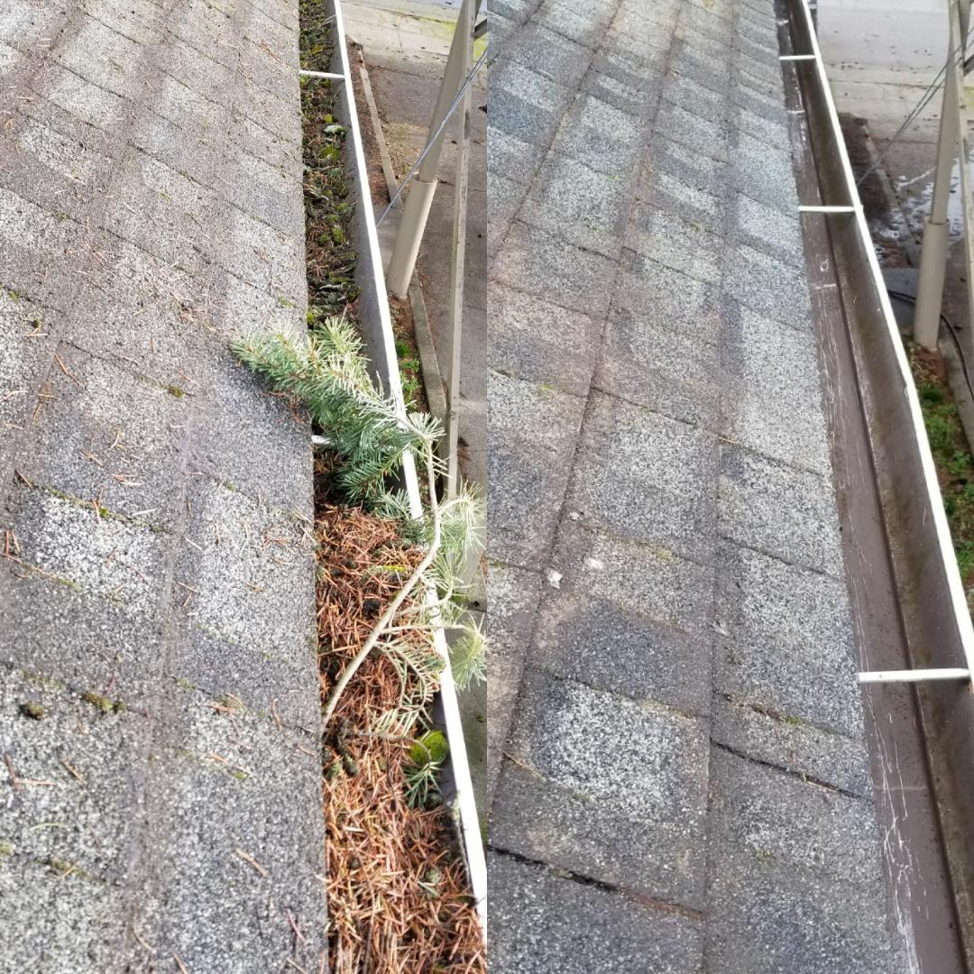 Gutter Cleaning - Our gutter cleaning work is different. We pay attention to detail, by not only cleaning out the debris inside the gutter, but also checking that the down spout isn't clogged. We also make sure we clean off any dirty water that might have poured over the sides to avoid it staining the view of the gutters. We offer a 100% satisfaction guarantee. If for some reason it clogs up again within the three months after we service it, we'll gladly come back and unclog it again, free of charge!