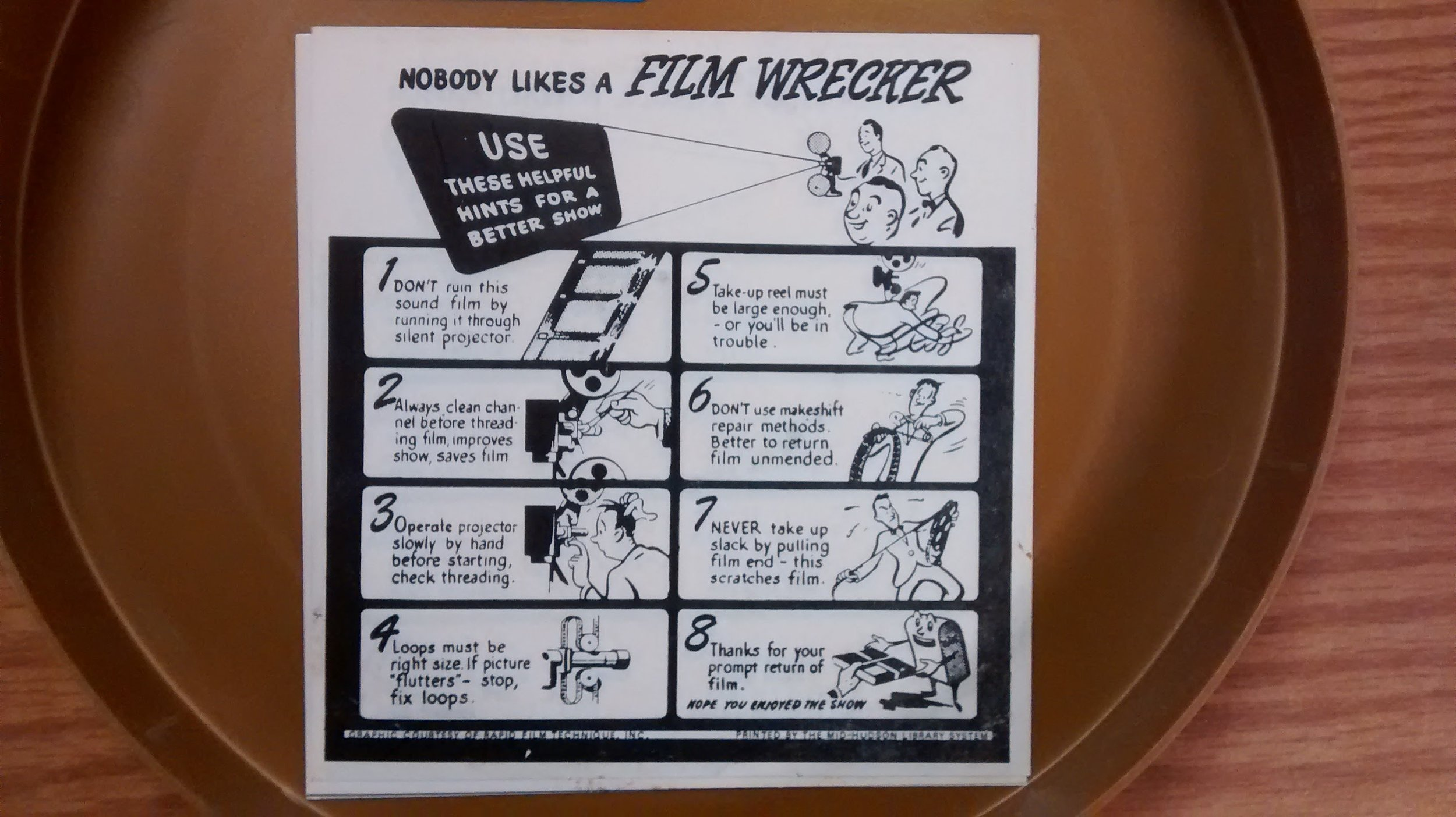 Film handling and projection warning