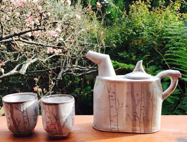 Birch and Shadows Tea Set using Navajo Wheel Clay