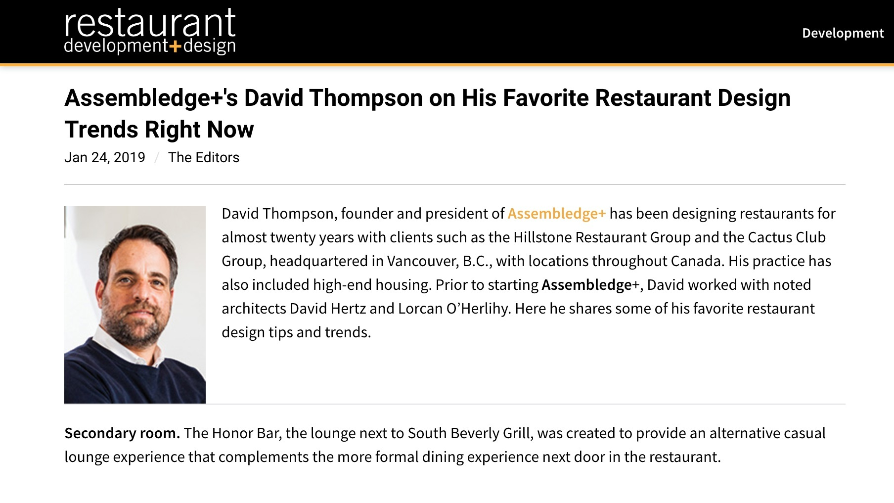 Assembledge+ 's David Thompson featured in   RDD Mag  .