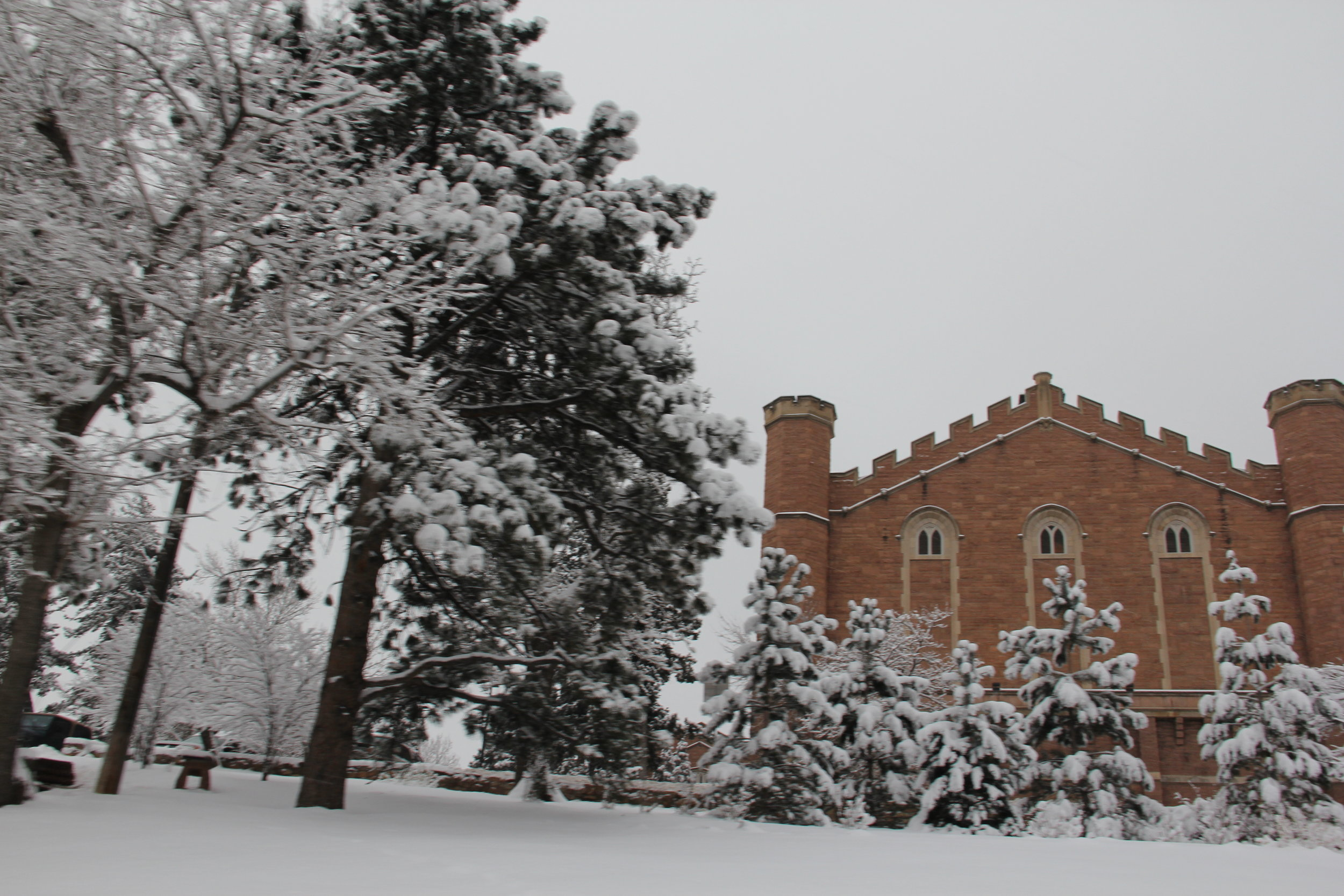 The snow outside Macky Auditorium at CU-Boulder.