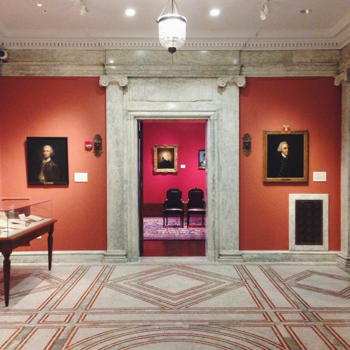Inside the museum at the Massachusetts Historical Society.