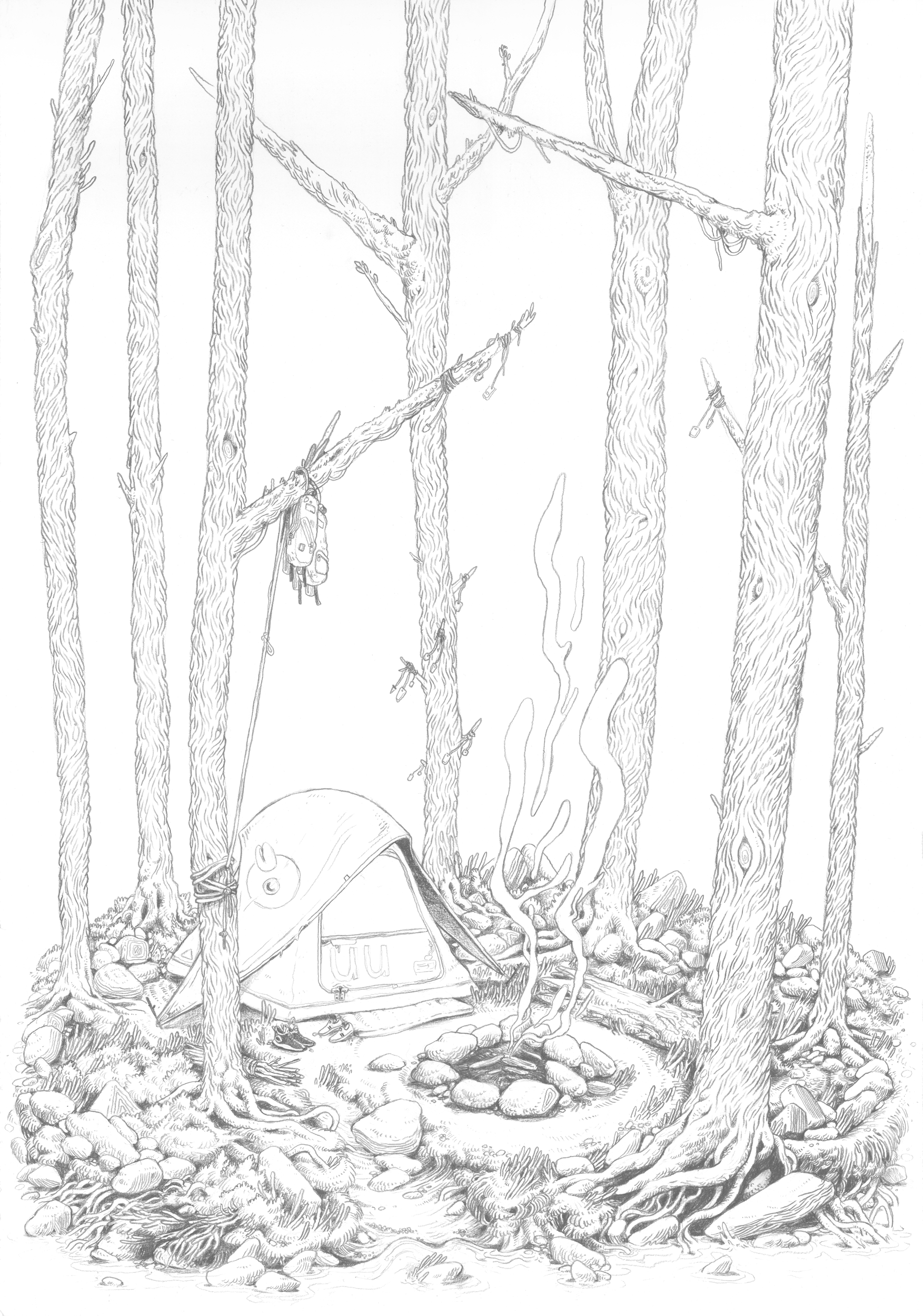 """Camp Site"" Pencil on paper (2019)"