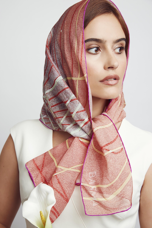 Red silk chiffon scarf