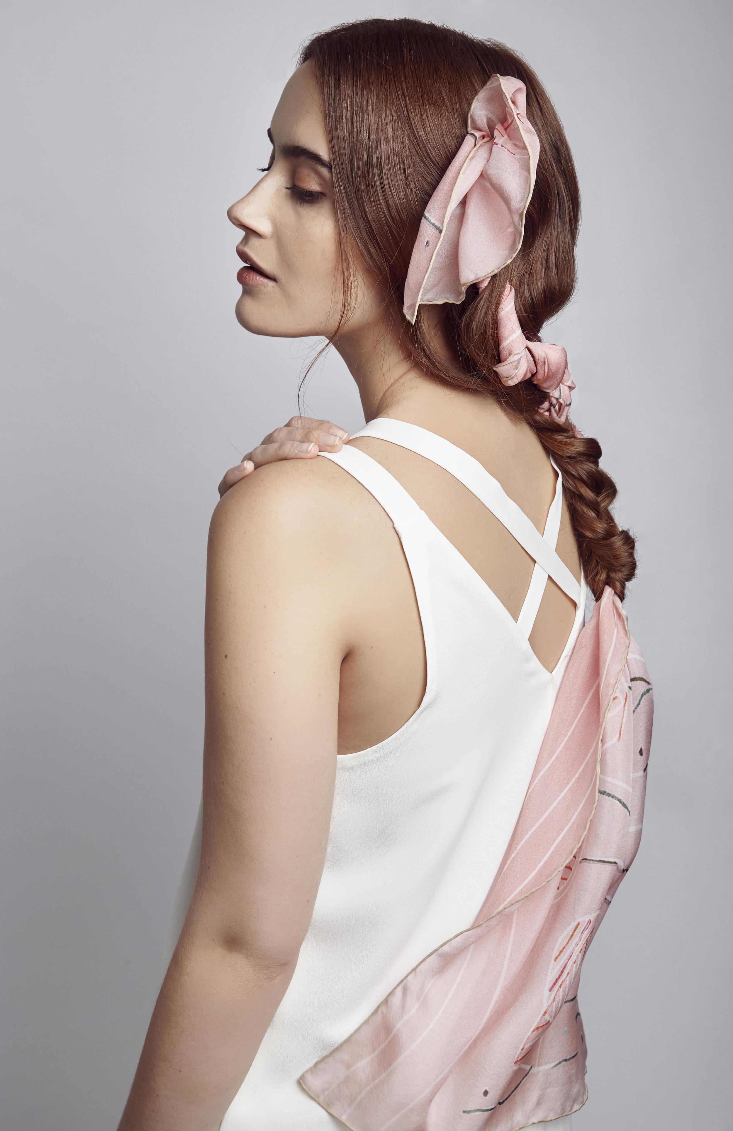 Pink silk chiffon scarf
