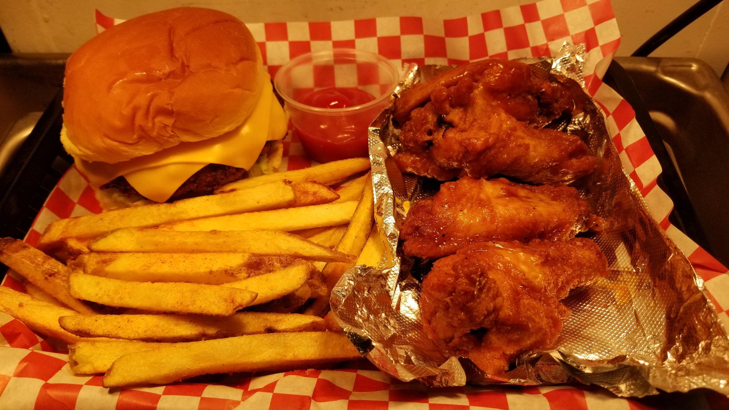 Burger… Wings… Fries… & Drink… $8