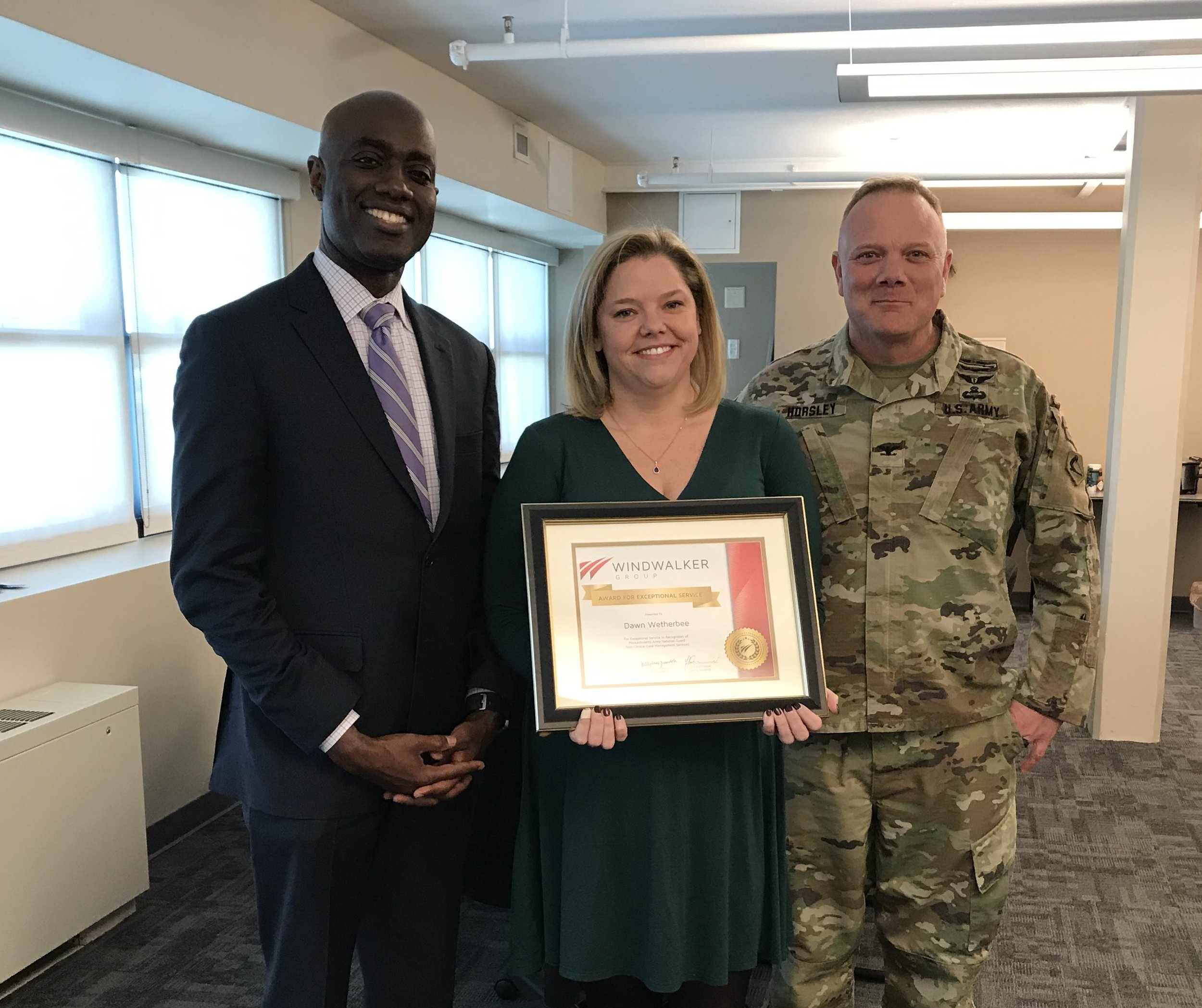 Dawn Wetherbee - Dawn has achieved an Award for Exceptional Service for her outstanding leadership on the MA Army National Guard Medical Case Management contract at Hanscom Air Force Base in Bedford, MA. She has been a stalwart ally in achieving greater medical readiness for the MA Army National Guard medical command. Awarded March 7th, 2019