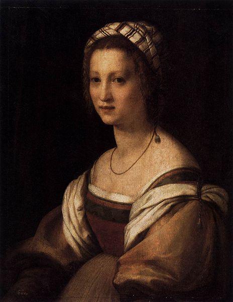 Portrait of Lucrezia de Baccio Del Fede   by Andrea del Sarto, circa 1514, public domain