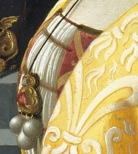 Detail of  Portrait of Giovanna Tornabuoni , Domenico Ghirlandaio, Public Domain