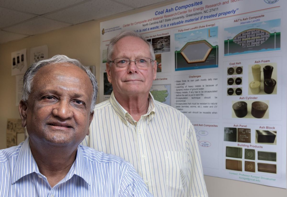 Dr. Kunigal Shivakumar  and Wade Brown, lead researchers at NC A&T State University | Photo Credit: H. Scott Hoffman,  Scientists at NC A&T make coal ash breakthrough , Greensboro News & Record
