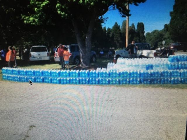 Donated water laid out for all to see.......
