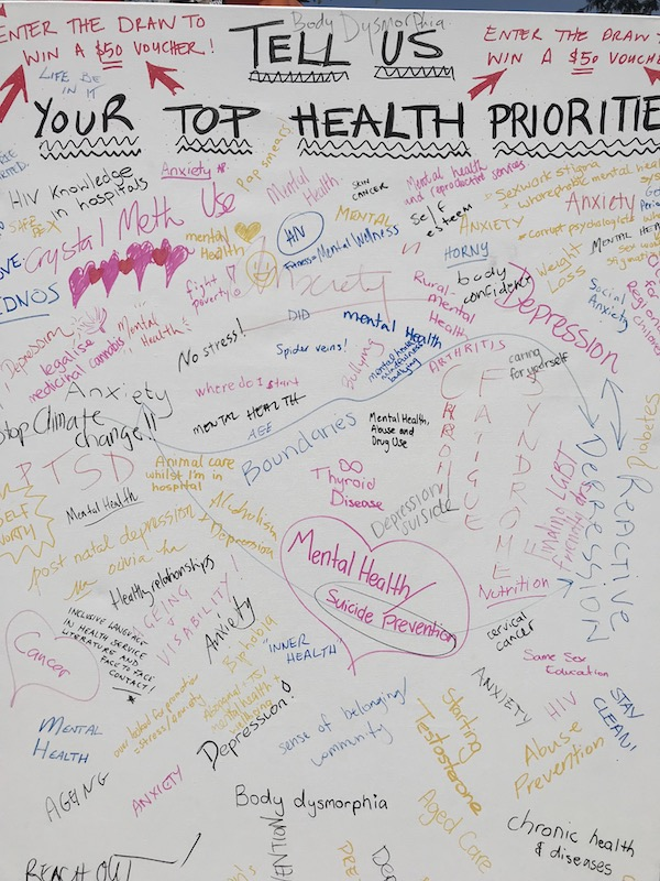 Overwhelmingly, mental health, depression and anxiety are the biggest health concerns for LGBTI community