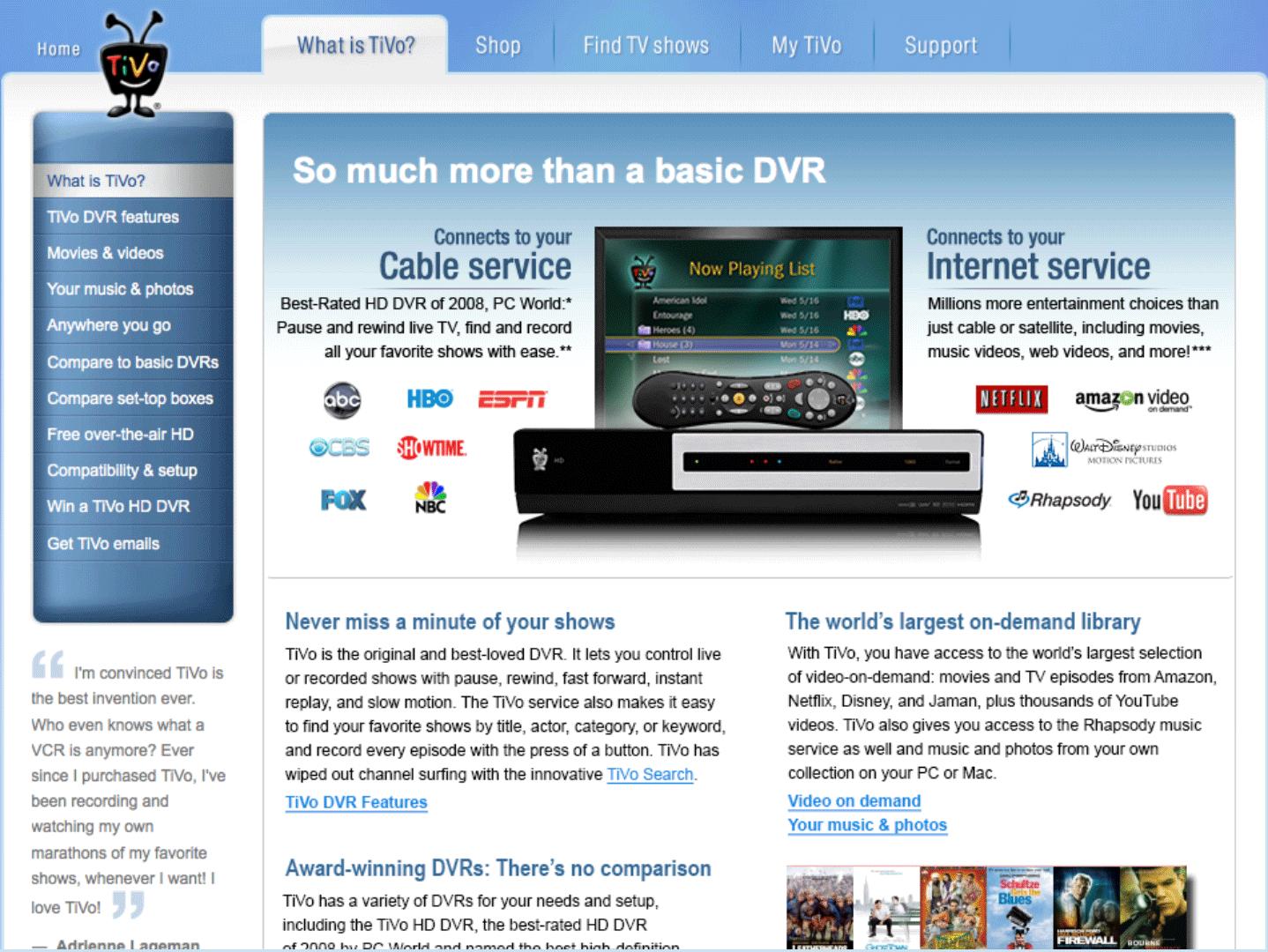 Before TiVo.com Redesign