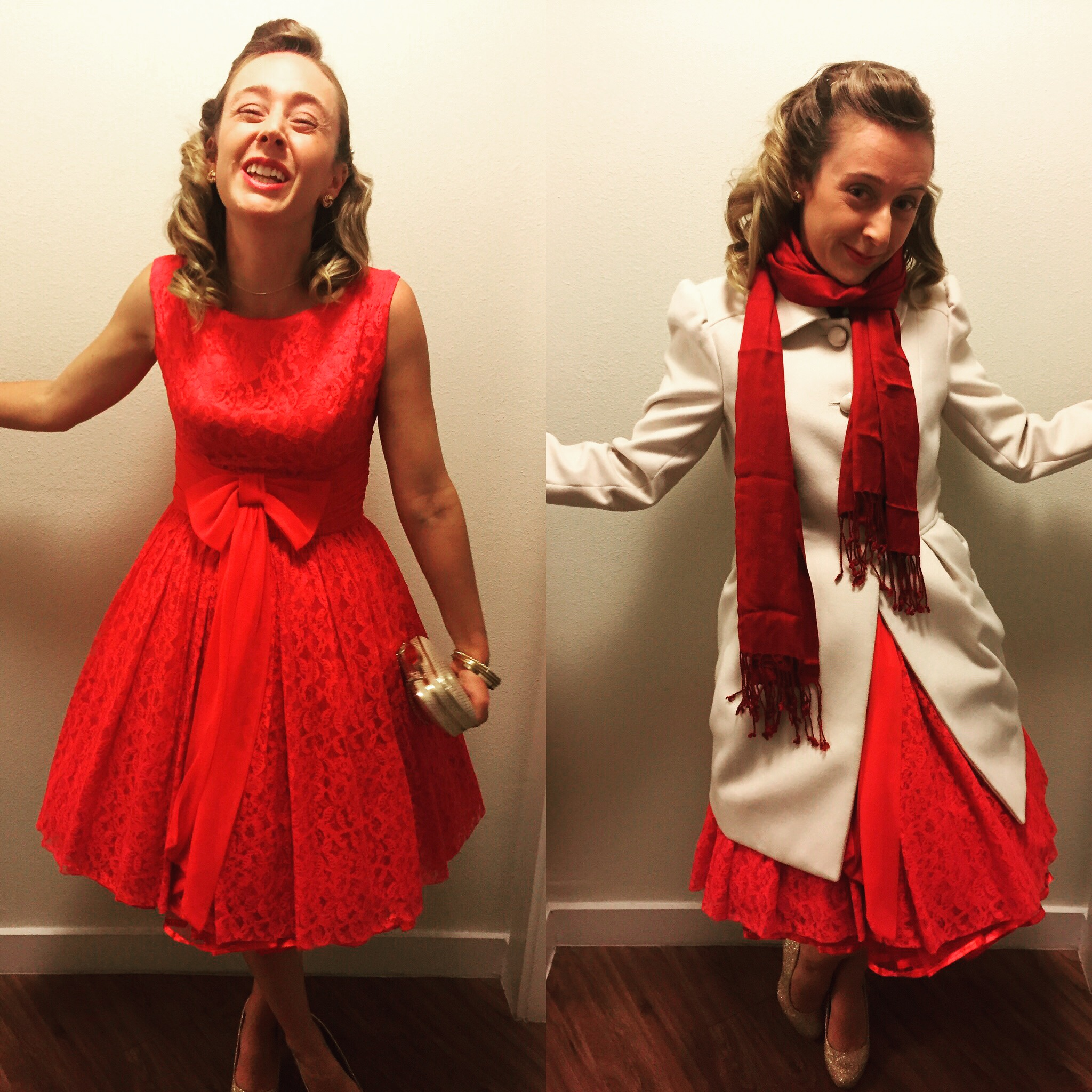 """1950's Red Dress inspired by Dior's """"New Look"""""""