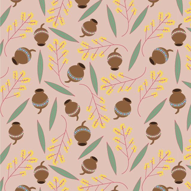 It feels so good to be making again. . . . #surfacedesign #patterndesign #textiledesign #textiles #design #print #fashion #wattle #gumnut #wattleleaf #flowers #nuts #garden #gardeninspired #illustrator #seamlessrepeat #repeatpattern #happiness #play #making #makingslow #cad 1/52