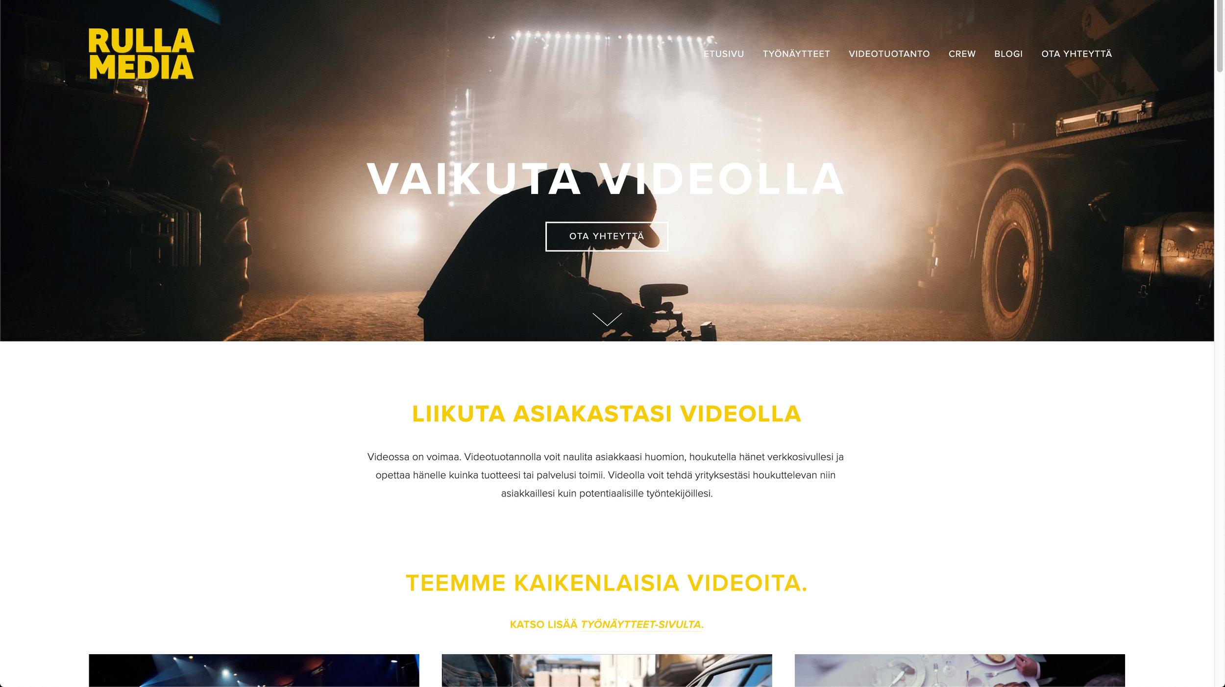 Multi-page nettisivu - Tein Rulla Medialle moniosaiset nettisivut. Näiltä sivuilta näet nopeasti ja halutessasi todella kattavasti, mitä teemme ja keitä olemme.