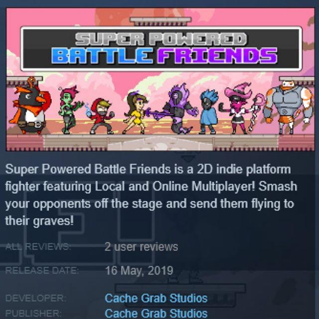 #SuperPoweredBattleFriends is now LIVE on #Steam and #itch‼️ . . . . . #Gamedev #pixelart #spbf #earlyaccess #rivalsofaether #brawlhalla #smashbros #platformfighter #indiegamedev #indiegame #gamedevelopment #unrealengine #unreal #ue4