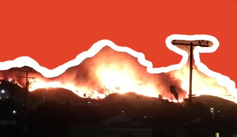 Ventura hillside on fire