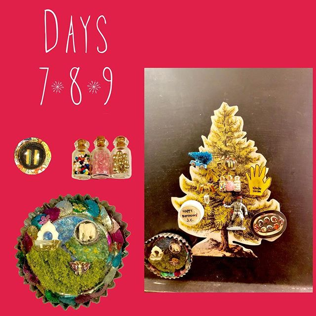 Advent Calendar days 7, 8, 9: In honor of lazy weekends, a thruple ornament post: sprinkles!, an early resin experiment, and a glam tin diorama with trinkets from our Thai time.  To read all about this best personalized advent calendar ever created my insanely crafty sister @mmcothern... **Click on my blog link in the bio and check.it.out.** #adventcalendar #diyadventcalendar #adventcalendarcountdown #xmascountdown2018