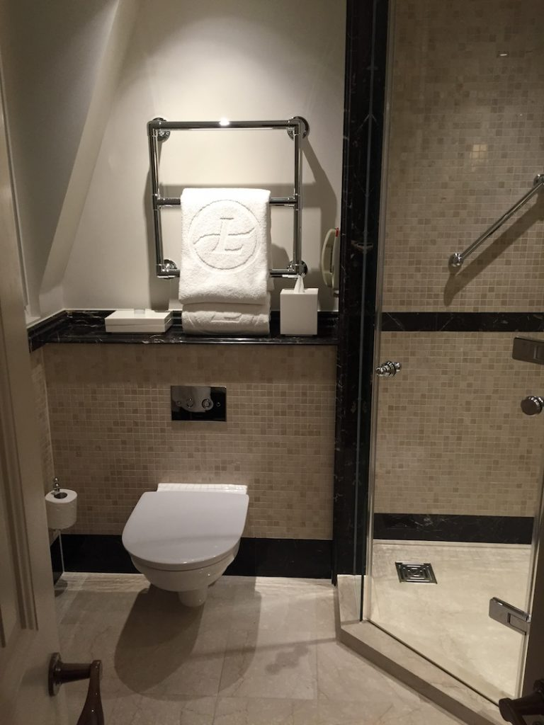 The amply-sized bathroom