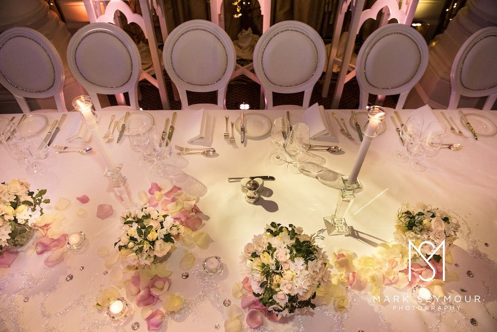 Gorgeous wedding table setting (photo by Mark Seymour, courtesy of The Langham London)