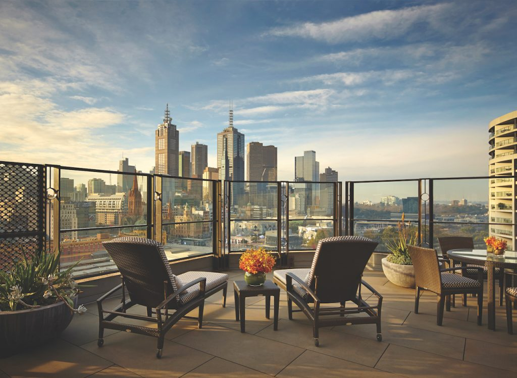 The lush terrace off the Terrace Room (photo credit: Langham Melbourne)