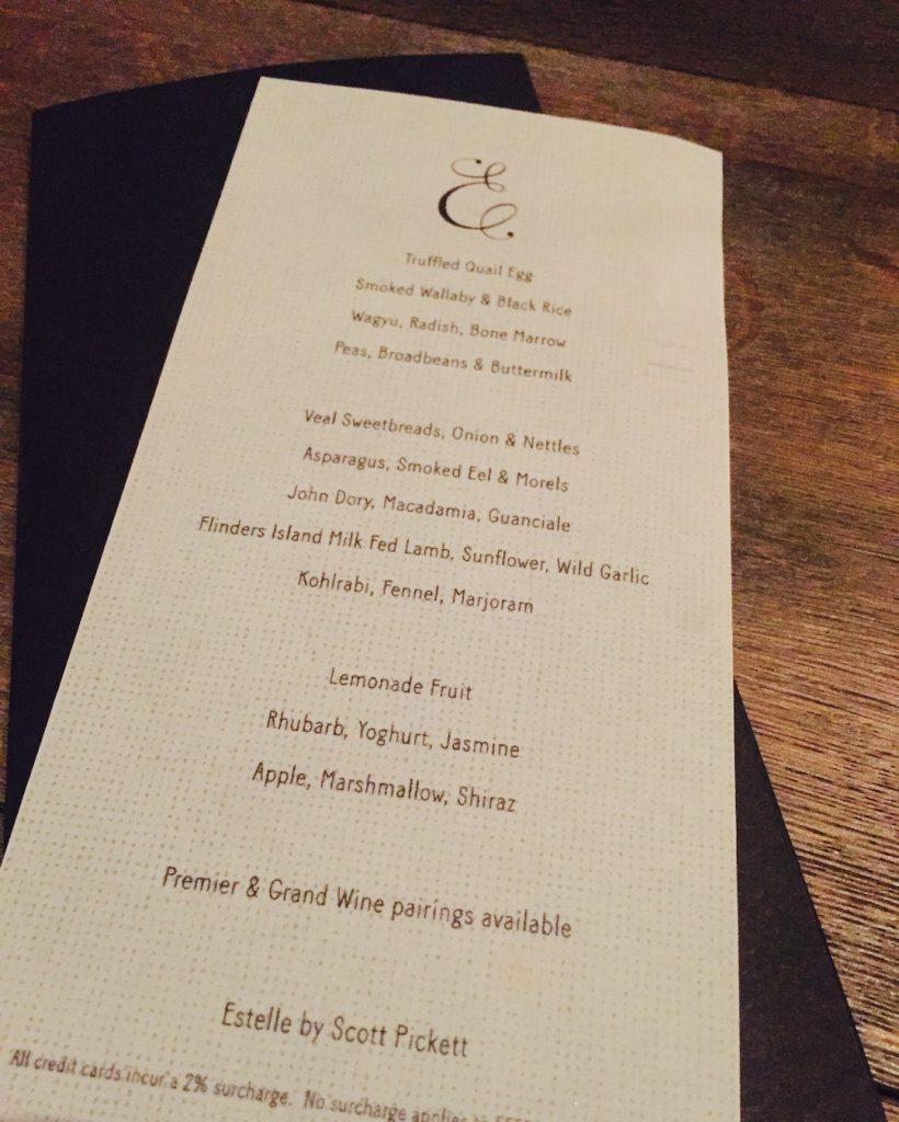 The tasting menu