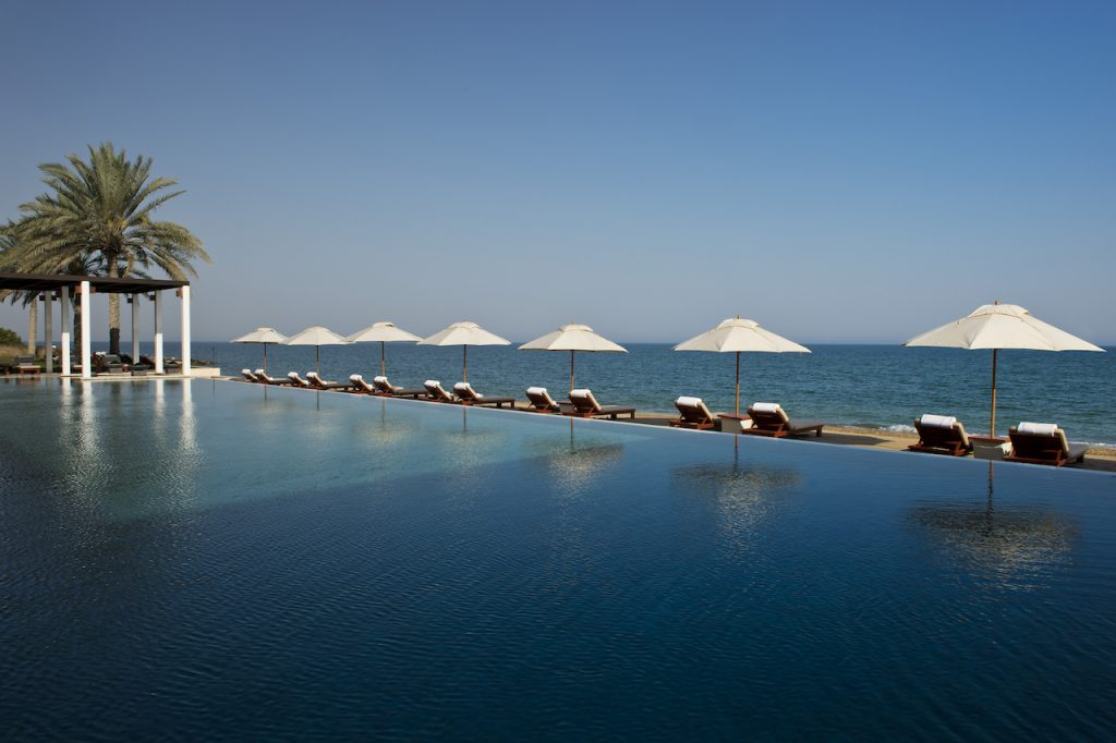 The Chedi Pool is complete bliss – look at that view! (photo credit: The Chedi Muscat)