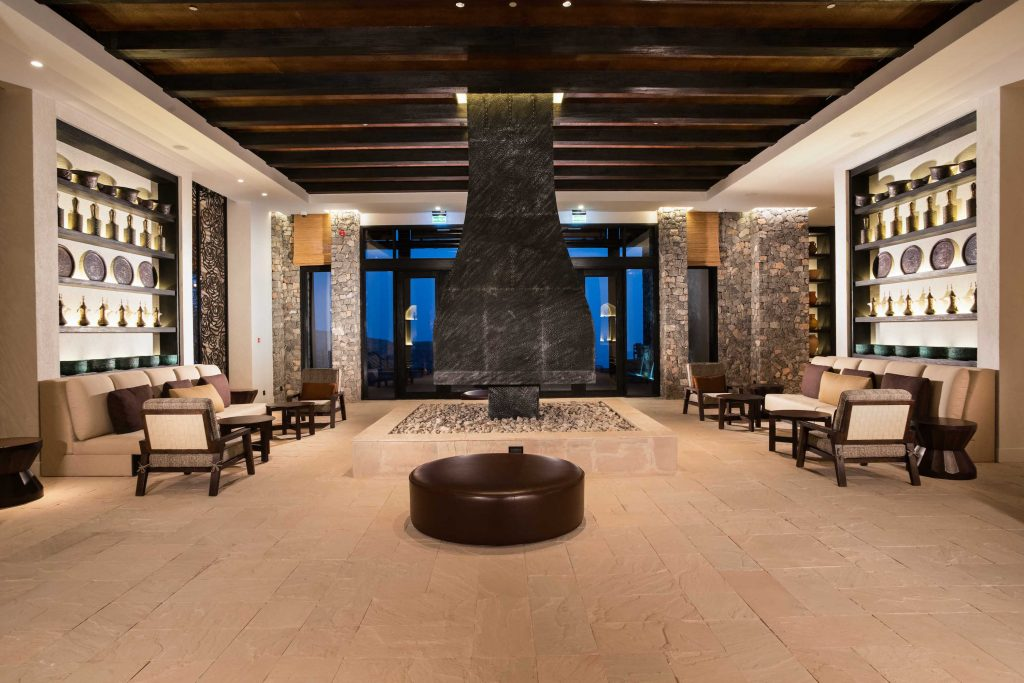 This is the chalet-esque lobby you'll walk into (photo credit: Alila Jabal Akhdar)