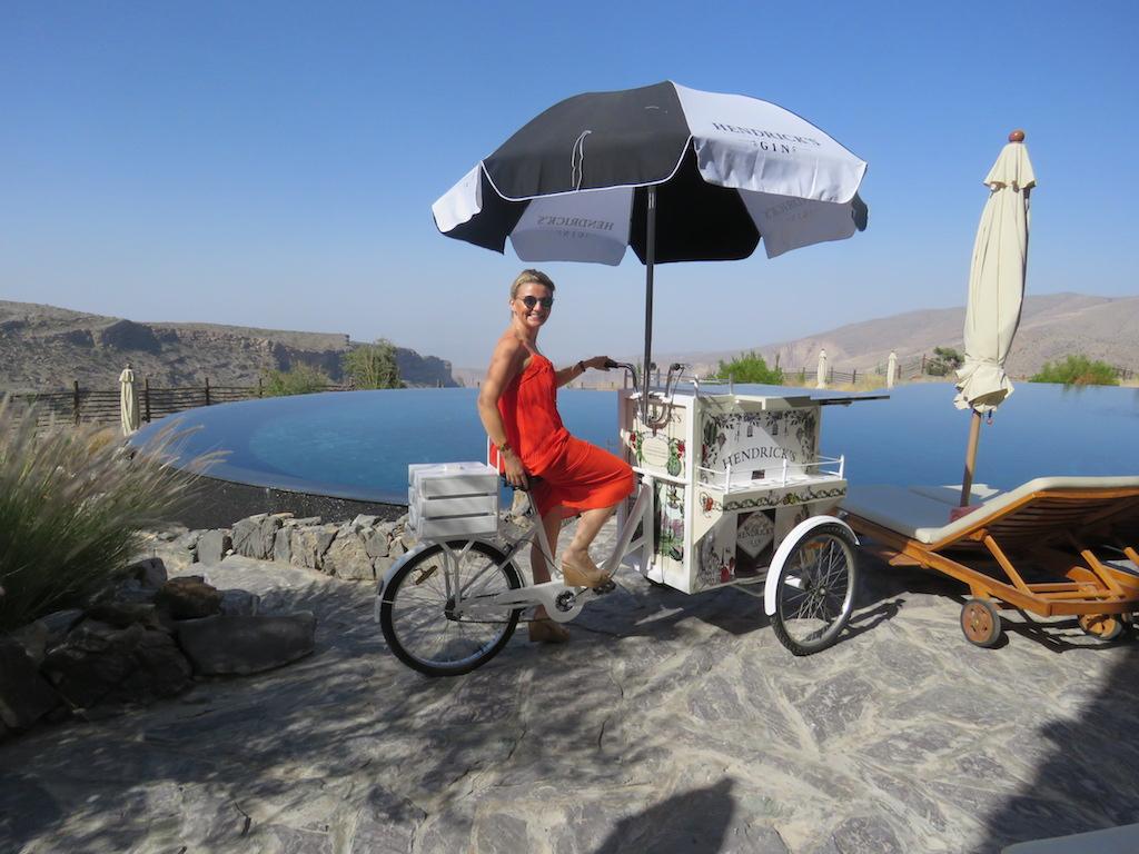 Pra contemplating how far she could make it on the Hendricks Gin bike!