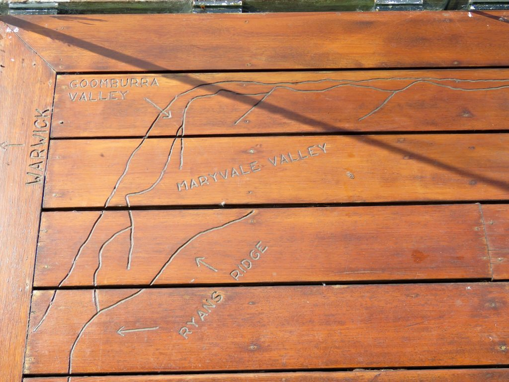 A map lovingly and carefully carved into the deck