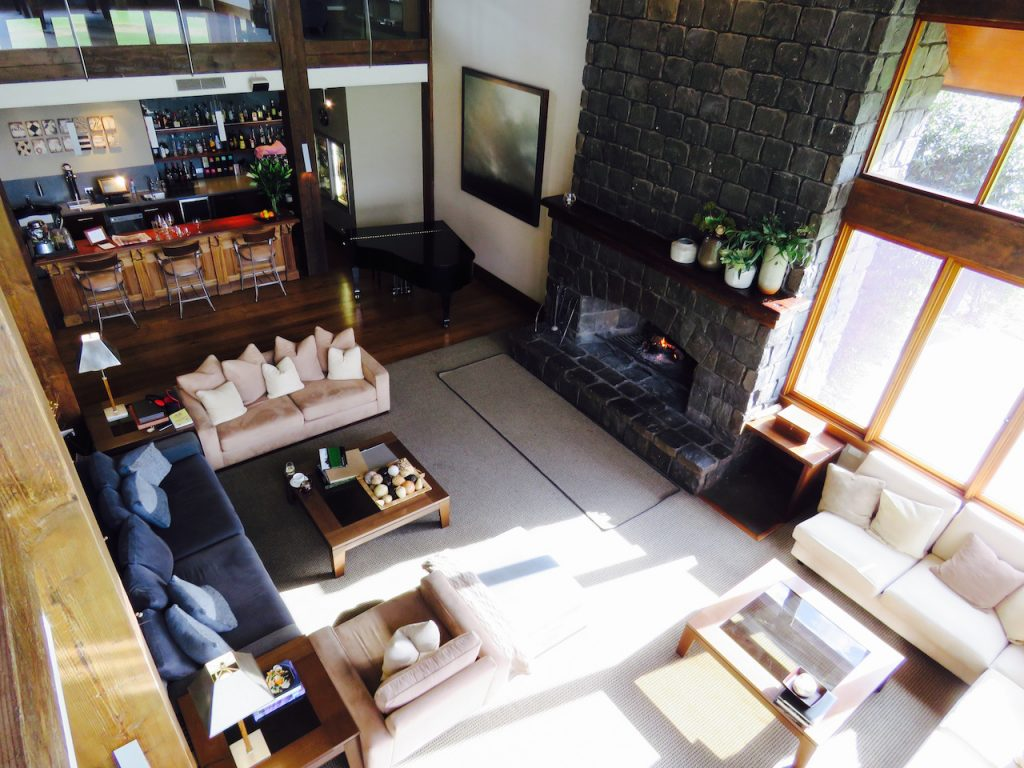 Looking down at the common area